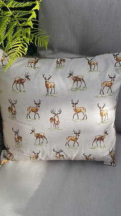 Handmade mini stags cushion with a wool envelope back