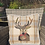 Thumbnail: A one-off appliquéd stag on a 100% wool checkcushion - Ginger