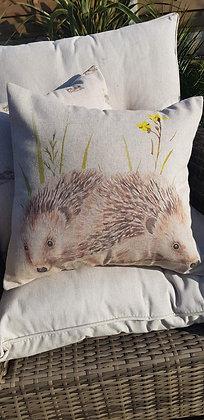 Handmade hedgehog cushion with a tweed back