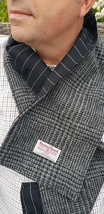One-ff handmade scarf made from grey Prince of Wales grey and black Harris Tweed