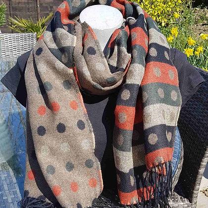 Super-soft spot and stripe reversible scarf - khaki