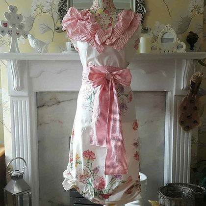 Cream with pink carnationtunic style dress with co-ordinating sash and collar