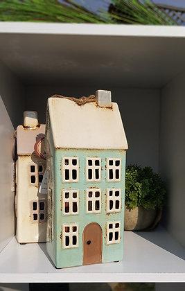 Extra large tall house tea light. Gorgeous light duck egg bluehouse