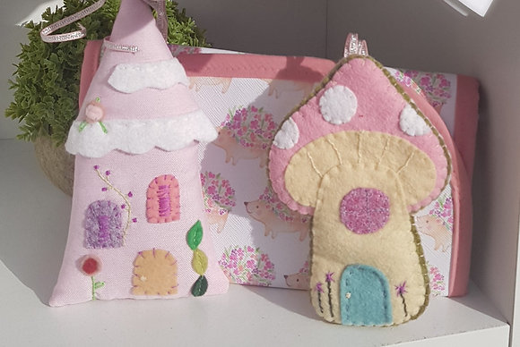 Handmade appliqued felted mushroom house. Super cute. Hanging decoration