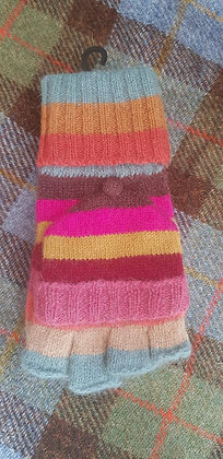 Knitted wool-blend mitten gloves, bold striped colours
