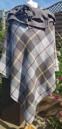 One-off handmade poncho made with  grey and brown windowpane check 100% wool.