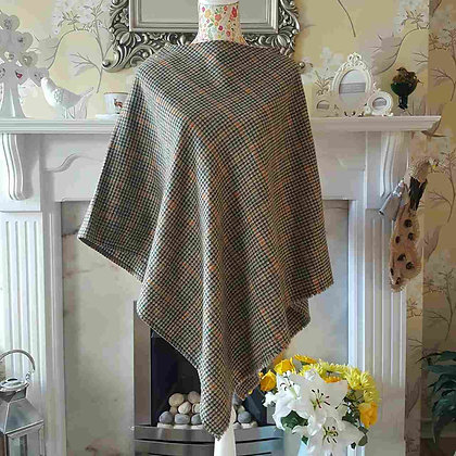 Simple and stunning handmade poncho made with 100% tweed wool