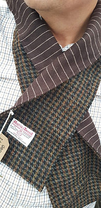 brown Harris tweed dogtooth scarf