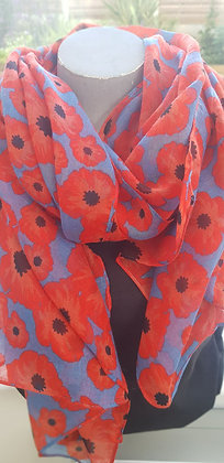 cobalt blue scarf with full red poppies