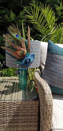 One-off handmade 30cm aqua blue and brown striped tweeddrum lampshade