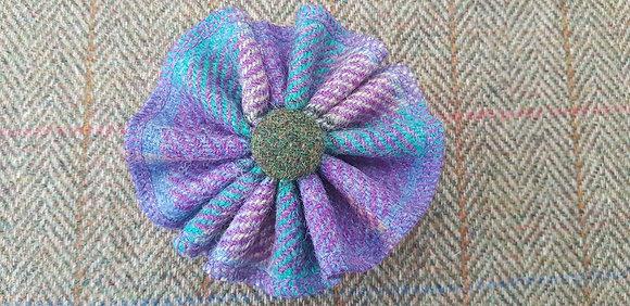 Handmade rosette flower tweed brooch made from Harris tweed wool