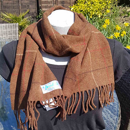 Super-soft 100% wool tweed scarf with a brown check.