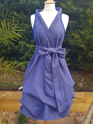 One-off handmade blue wrap dress. Small ditsy circle pattern