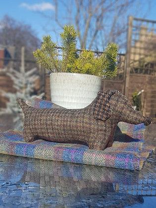 Stuffed plush dachshund. Beautiful brown and moss green dogtooth Harris Tweed