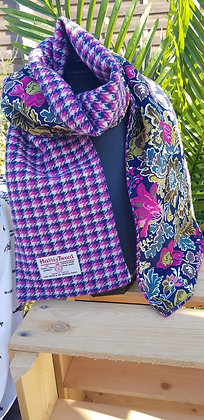 Handmade scarf made from pink, blue and cream dogtoothHarris Tweed