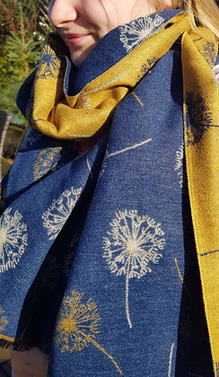 Supersoft mustard and denim bluescarf with dandeclock reversibledesign