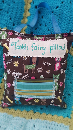 Handmade dogs tooth fairy pillow with a mini front pocket