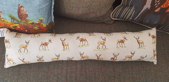 Handmade mini stag draught excluder with a tweed back.