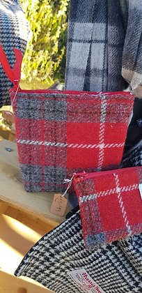 Handmade case made red and grey check Harris Tweed