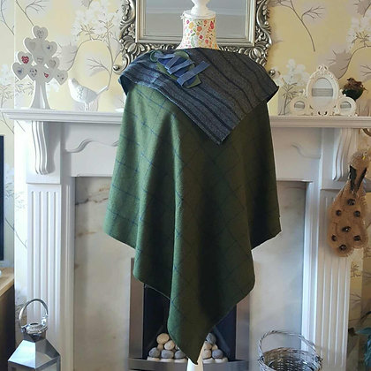Handmade one-off 100% poncho in a soft moss green Donegal wool with a blue overc
