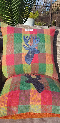 Handmade green lime, orange and yellow Harris Tweed herringbone check cushion