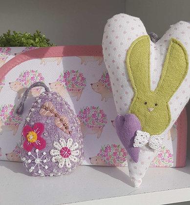 Handmade appliqued felted Easter Egg. Super cute. Hangingdecoration