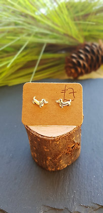 925 sterling silver Dachshunds sausage dogs earrings