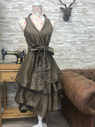 Bronze and brown tiger stripe handmade dress