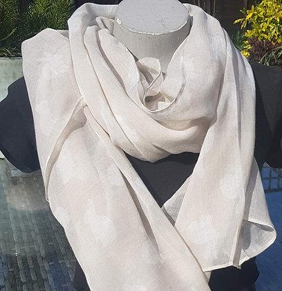 Cute cream rabbits on a biege backgroundlightweight fashion scarf