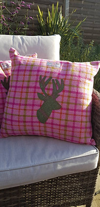 Handmade cushion made from HarrisTweed wool with an appliqued sagey green stag