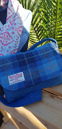One-off handmade shoulder bag, made from Harris Tweed wool.