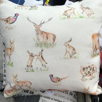 Gorgeous highland animalson a soft wool style fabric