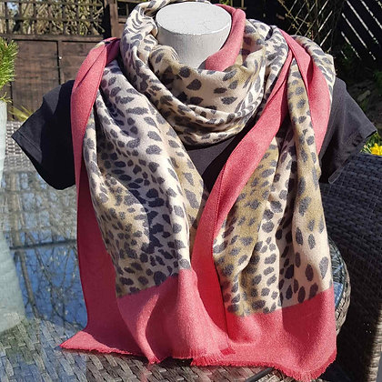 Supersoft leopard print scarf with a red border
