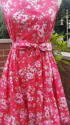 Fabulous red flowered tea-party Alice dress