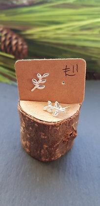 925 sterling silver leaf branch earrings