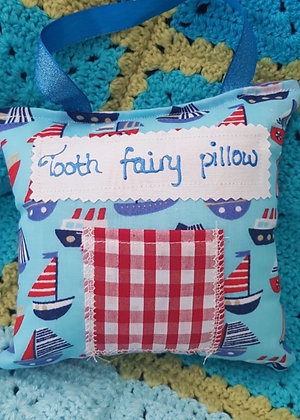 Handmade sailing boats tooth fairy pillow with a mini front pocket