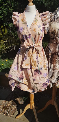 Limited edition, nude wild flower print ruffled sleeved wrap dress