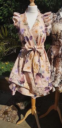 Limited edition, nude wild flower printruffled sleeved wrap dress