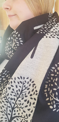 A supersoft black  and cream tree design scarf.