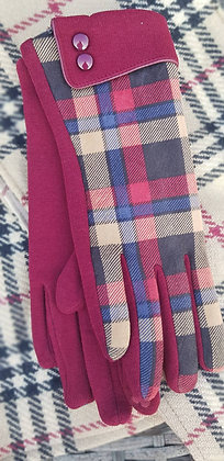 Plum and blue check on a plum glove