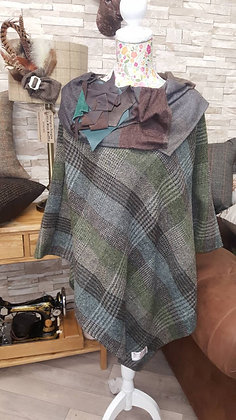 One-off handmade poncho made from Harris tweed pure virgin wool