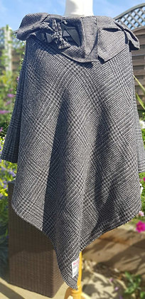 One-off handmade poncho made from grey Prince of Walescheck Harris Tweed