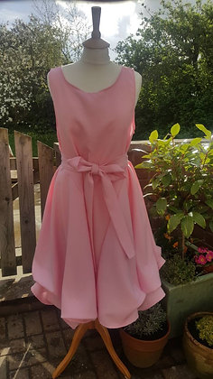 Handmade ruched Alice dress in candy pink