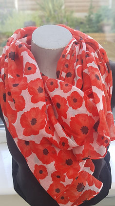 white scarf with red poppies