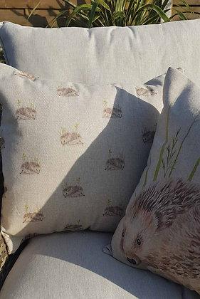 Handmadehedgehog cushion with a tweed back