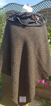 One-off handmade poncho made from brown and black dogtooth Harris Tweed cloth