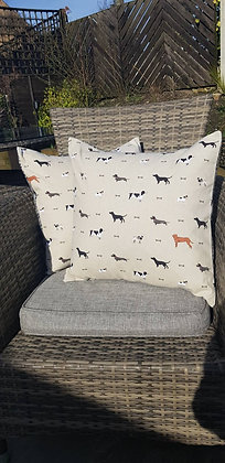 Handmade Woof cushions made from Sophie Allport canvas cotton