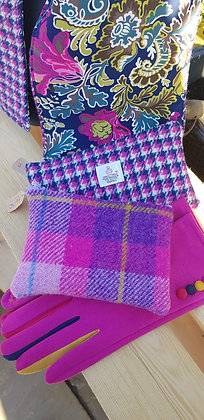 Handmade case made from cerise pink and purple check Harris Tweed.