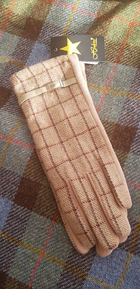 Beige camel Hawkins check winter gloves