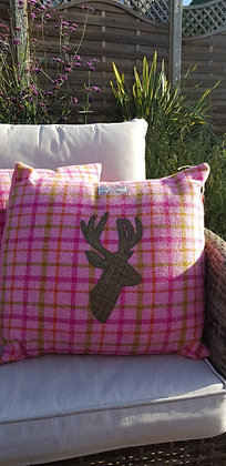 One-off handmade cushion made from HarrisTweed woolwith an appliquéd stag